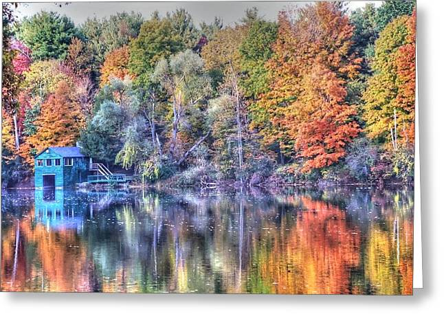 Green And Yellow Greeting Cards - Tymor boathouse Greeting Card by Linda Covino