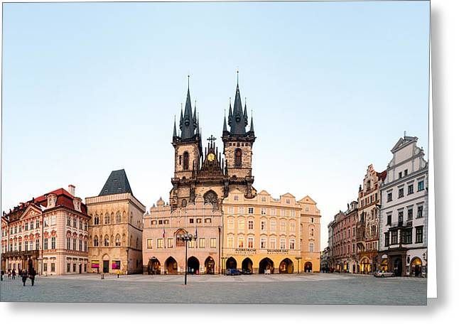 Prague Towers Greeting Cards - Tyn Cathedral On Old Town Square, Mala Greeting Card by Panoramic Images