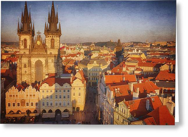 Town Square Greeting Cards - Tyn Church Old Town Square Greeting Card by Joan Carroll