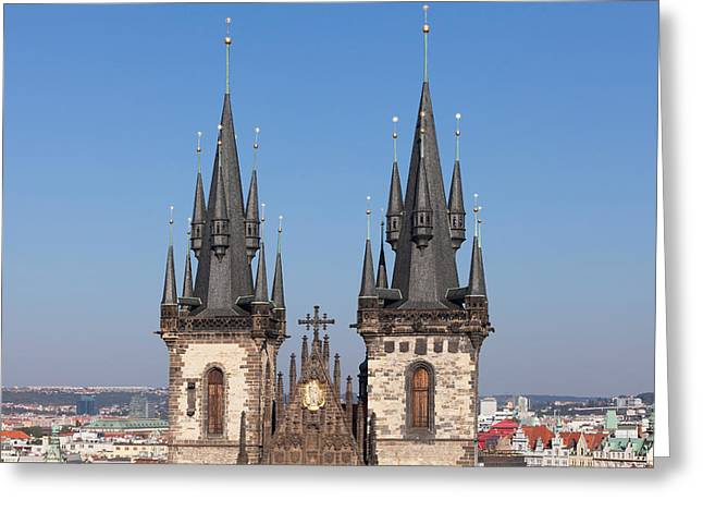Prague Towers Greeting Cards - Tyn Church, Prague Old Town Square Greeting Card by Panoramic Images