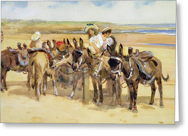 Children At Beach Greeting Cards - Tynemouth Sands Greeting Card by John Atkinson