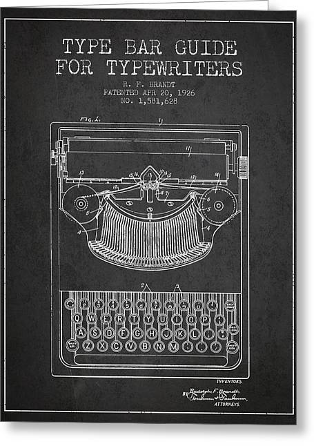 Typing Greeting Cards - Type bar guide for typewriters patent from 1926 - Charcoal Greeting Card by Aged Pixel