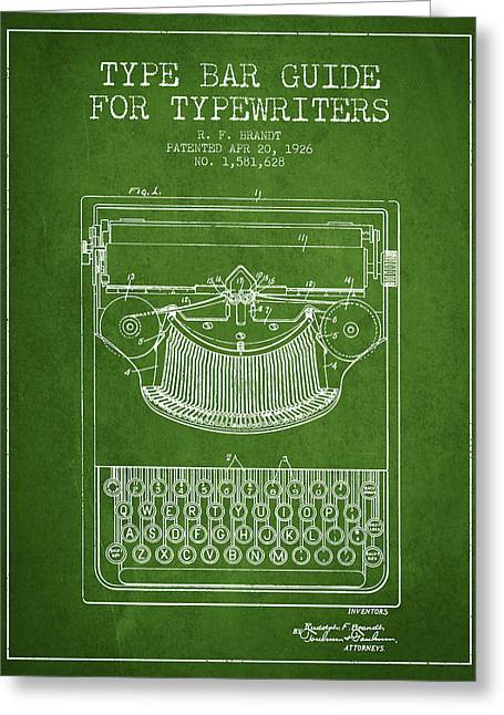 Typewriter Greeting Cards - Type bar guide for typewriters patent from 1926 - Green Greeting Card by Aged Pixel