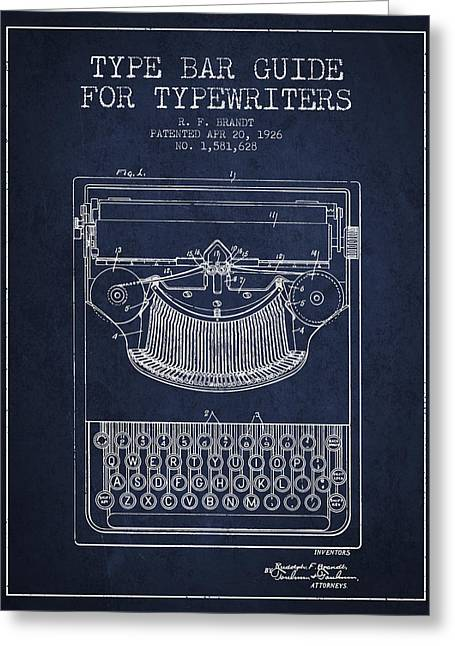 Typing Greeting Cards - Type bar guide for typewriters patent from 1926 - Navy Blue Greeting Card by Aged Pixel