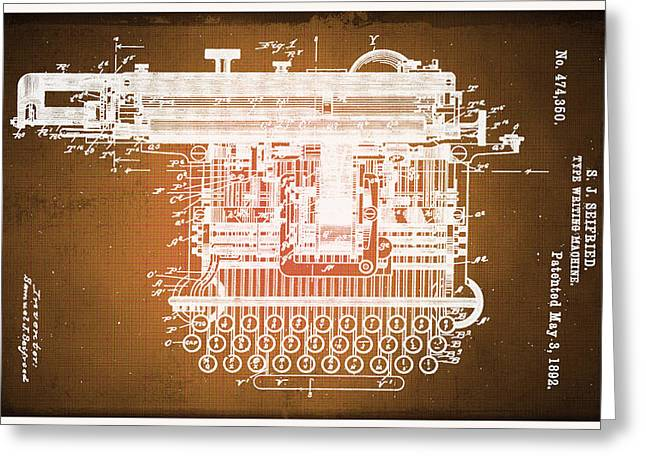 Typewriter Keys Greeting Cards - Type Writing Machine Patent Blueprint Drawings Sepia Greeting Card by Tony Rubino