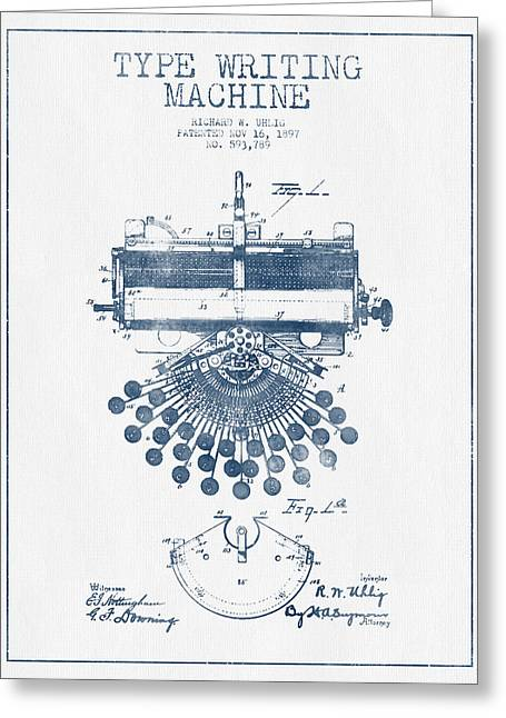 Typewriter Greeting Cards - Type Writing Machine Patent Drawing From 1897 - Blue Ink Greeting Card by Aged Pixel