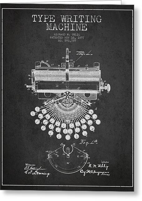 Technical Digital Art Greeting Cards - Type Writing Machine Patent Drawing From 1897 - Dark Greeting Card by Aged Pixel