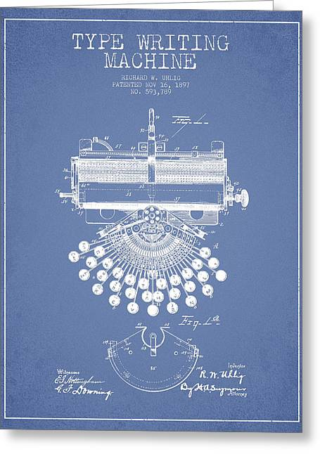 Typing Greeting Cards - Type Writing Machine Patent Drawing From 1897 - Light Blue Greeting Card by Aged Pixel
