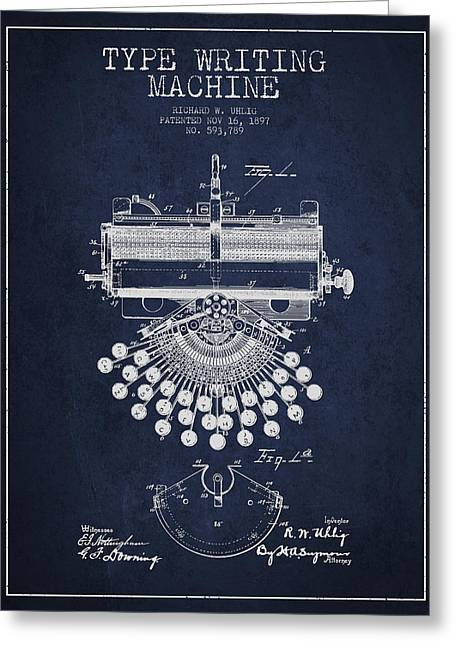 Typing Greeting Cards - Type Writing Machine Patent Drawing From 1897 - Navy Blue Greeting Card by Aged Pixel