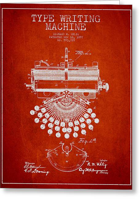 Typewriter Greeting Cards - Type Writing Machine Patent Drawing From 1897 - Red Greeting Card by Aged Pixel