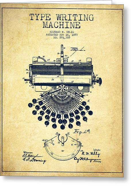 Typewriter Greeting Cards - Type Writing Machine Patent Drawing From 1897 - Vintage Greeting Card by Aged Pixel