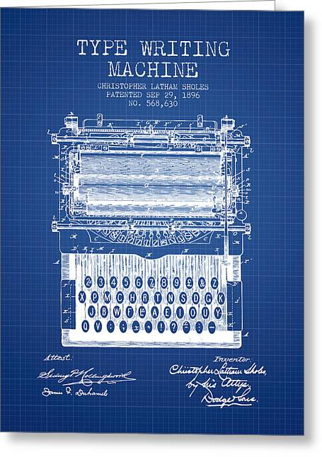 Typing Greeting Cards - Type Writing Machine patent from 1896 - Blueprint Greeting Card by Aged Pixel