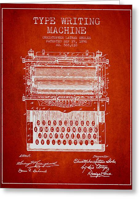 Typewriter Greeting Cards - Type Writing Machine patent from 1896 - Red Greeting Card by Aged Pixel