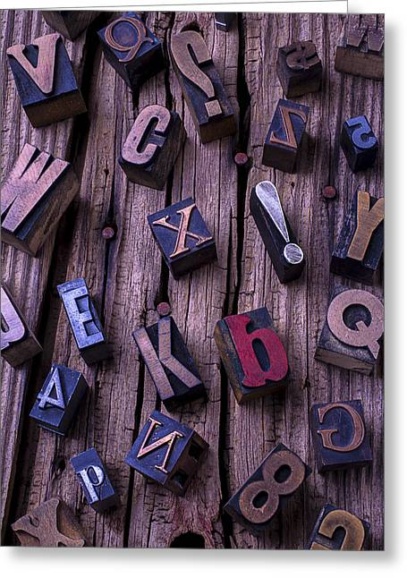 Language Use Greeting Cards - Typesetting Blocks Greeting Card by Garry Gay
