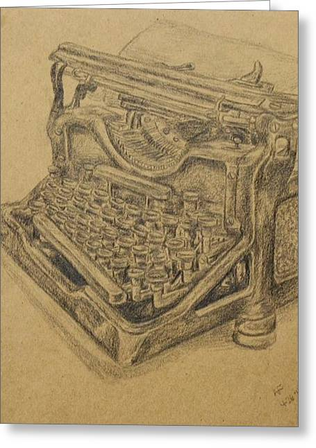 Typewriter Keys Drawings Greeting Cards - Typewriter Greeting Card by Amanda Fosnight