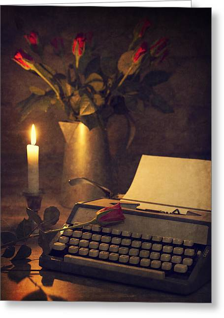 Candleholder Greeting Cards - Typewriter and roses Greeting Card by Amanda And Christopher Elwell