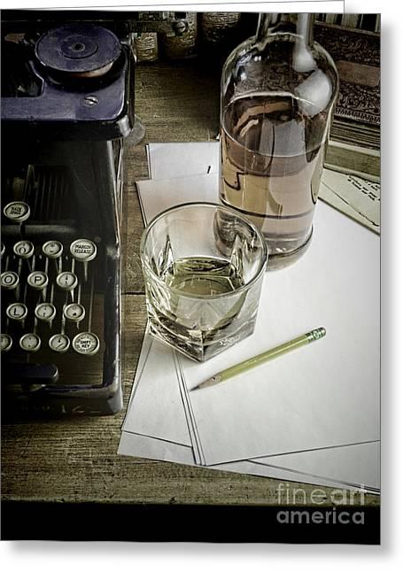 Typewriter Greeting Cards - Typewriter and Whiskey Greeting Card by Jill Battaglia