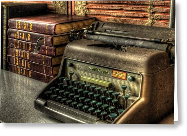 Processor Greeting Cards - Typewriter Greeting Card by David Morefield