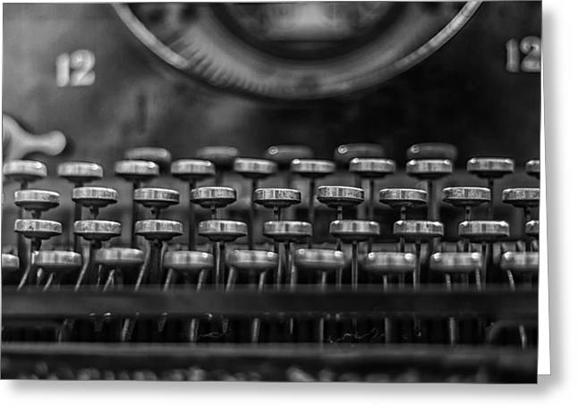 Typewriter Keys Photographs Greeting Cards - Typewriter Keys in Black and White Greeting Card by Nomad Art And  Design