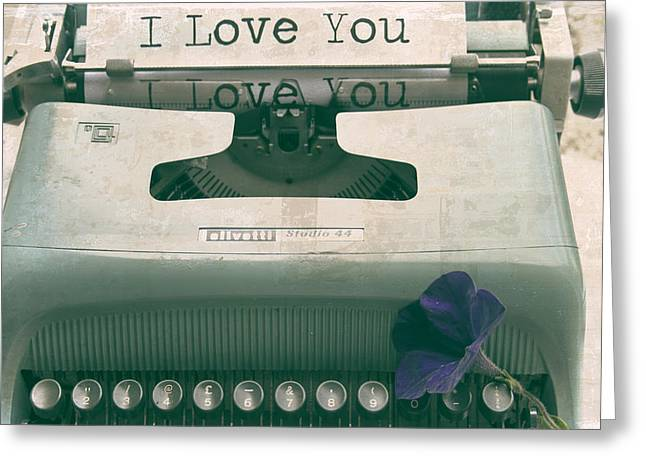 Get In Touch With Greeting Cards - Typewriter Love Greeting Card by Nomad Art And  Design