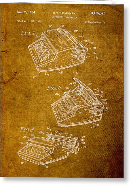 Typewriter Mixed Media Greeting Cards - Typewriter Vintage Patent on Worn Canvas Greeting Card by Design Turnpike