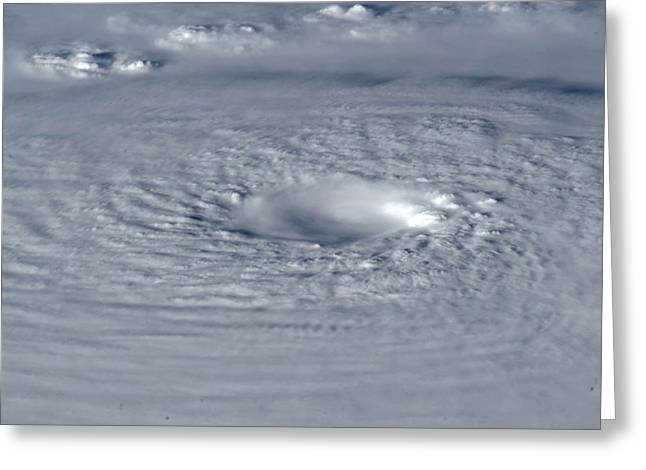 Typhoon Greeting Cards - Typhoon Bopha, ISS image Greeting Card by Science Photo Library
