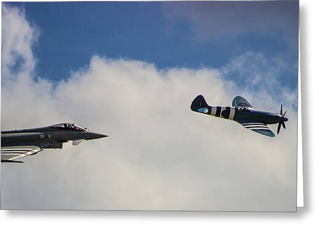 Air War Greeting Cards - Typhoon v Spitfire Greeting Card by Martin Newman