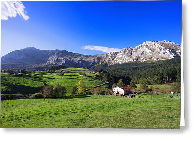 Pais Vasco Greeting Cards - typical basque country house in Axpe Greeting Card by Mikel Martinez de Osaba