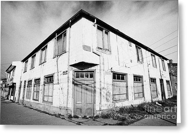 typical corrugated metal construction building Punta Arenas Chile Greeting Card by Joe Fox