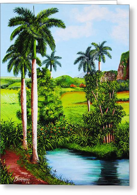 Dominica Alcantara Greeting Cards - Typical country Cuban landscape Greeting Card by Dominica Alcantara