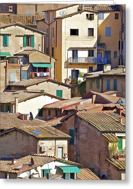 Tuscan Hills Greeting Cards - Typical Homes in the Hill Town Cortona  Greeting Card by David Letts
