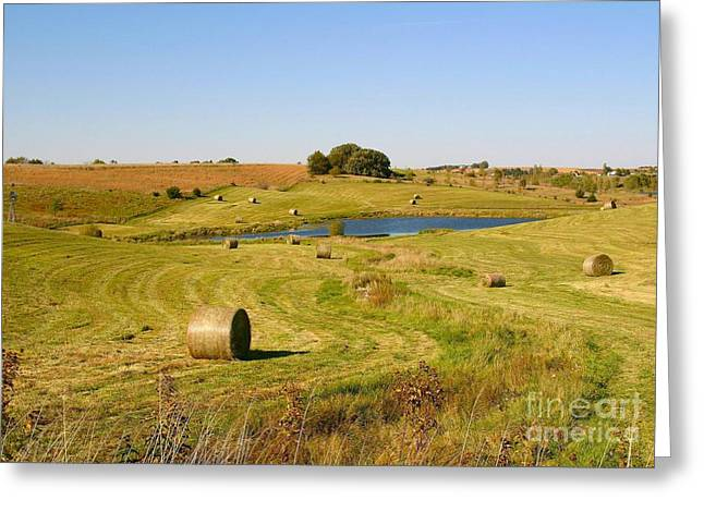 Hay Bales Greeting Cards - Typical Midwest Farm Greeting Card by Ronald Gater