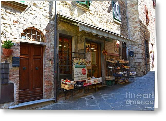 Tuscan Traditions Greeting Cards - Typical small shop in Tuscany Greeting Card by Ramona Matei