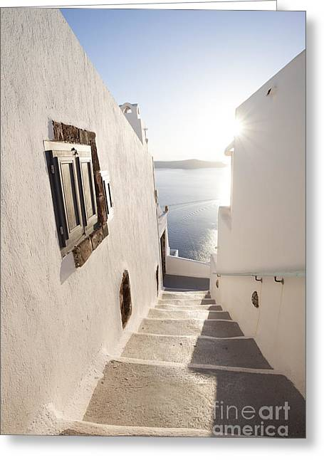 Recently Sold -  - Sunset Posters Greeting Cards - Typical steps downhill in small greek village Santorini Greece Greeting Card by Matteo Colombo