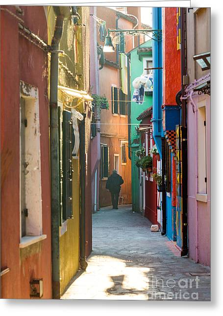 Italian Sunset Greeting Cards - Typical street with colorful houses in Burano - Venice Greeting Card by Matteo Colombo