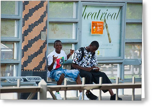 Dart Stations Greeting Cards - Typical Teenagers Greeting Card by Charles Beeler