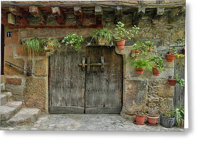 Typical Traditional Wooden Front Door Greeting Card by Panoramic Images