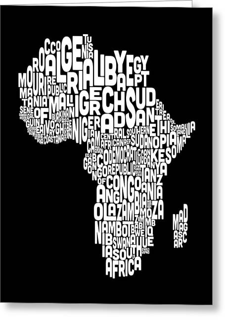 Africa Map Greeting Cards - Typography Map of Africa Map Greeting Card by Michael Tompsett
