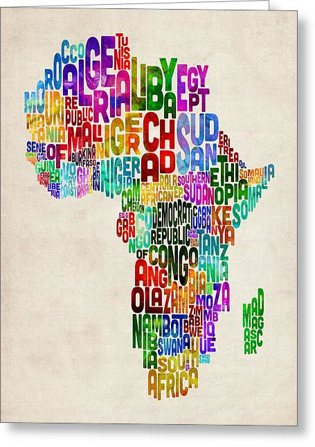Africa Map Greeting Cards - Typography Map of Africa Greeting Card by Michael Tompsett