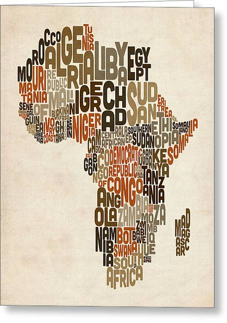 Africa Map Greeting Cards - Typography Text Map of Africa Greeting Card by Michael Tompsett