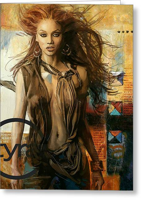 American Model Greeting Cards - Tyra Banks Greeting Card by Corporate Art Task Force