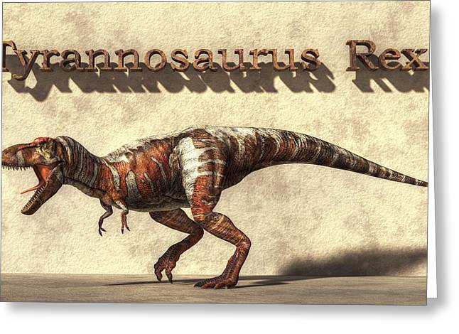 Triassic Greeting Cards - Tyrannosaurus Greeting Card by Daniel Eskridge