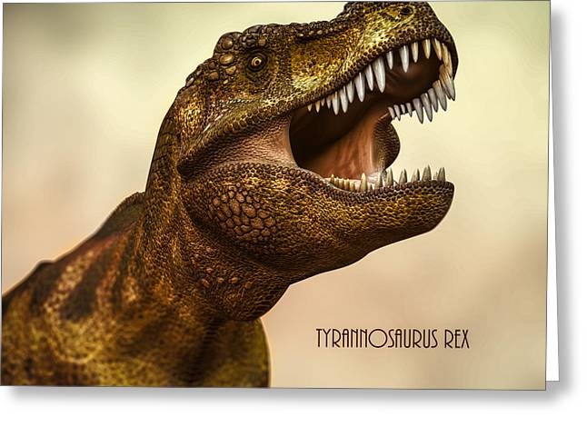 Prehistoric Digital Greeting Cards - Tyrannosaurus Rex 3 Greeting Card by Bob Orsillo