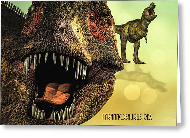 Prehistoric Digital Greeting Cards - Tyrannosaurus Rex 4 Greeting Card by Bob Orsillo