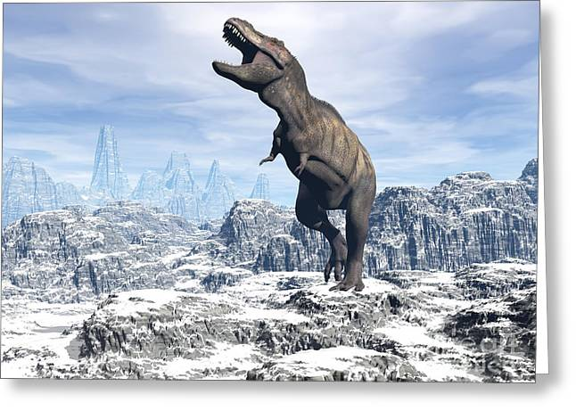 Snow-covered Landscape Digital Greeting Cards - Tyrannosaurus Rex Dinosaur In A Snowy Greeting Card by Elena Duvernay