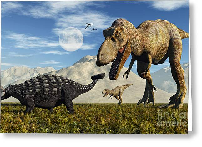 Ankylosaurus Digital Greeting Cards - Tyrannosaurus Rex Dinosaurs Confronting Greeting Card by Mark Stevenson