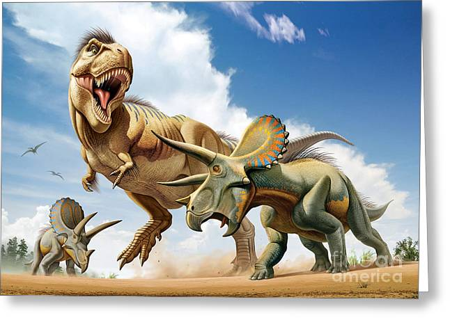 Existence Greeting Cards - Tyrannosaurus Rex Fighting With Two Greeting Card by Mohamad Haghani