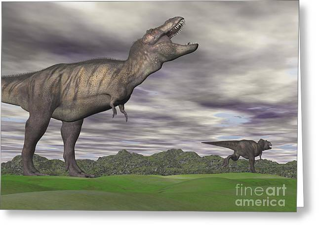 Overcast Day Digital Art Greeting Cards - Tyrannosaurus Rex Growling As A Fellow Greeting Card by Elena Duvernay