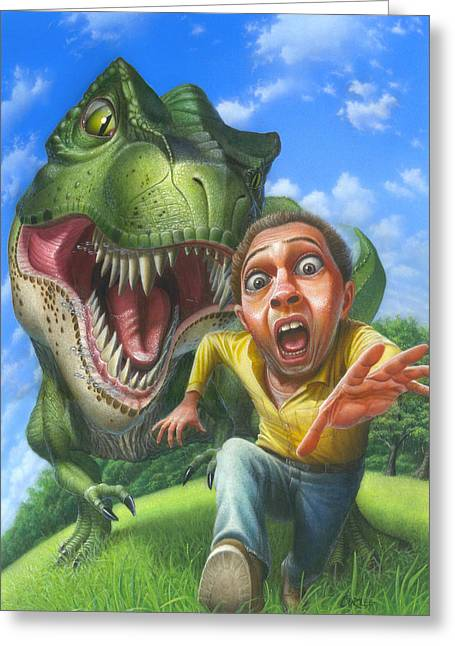 Jurassic Park Greeting Cards - Tyrannosaurus Rex jurassic park dinosaur - T Rex - T-Rex - Fantasy - Extinct Predator - Illustration Greeting Card by Walt Curlee
