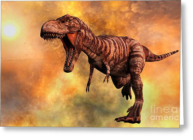 Wildlife Disasters Greeting Cards - Tyrannosaurus Rex Running From A Deadly Greeting Card by Mark Stevenson